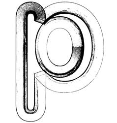 Grunge Font letter p vector