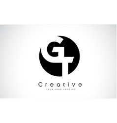 Gt letter logo design inside a black circle vector