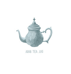 Hand drawing sketch icon oriental tea jug arab vector