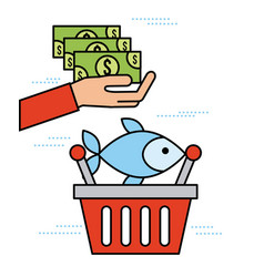Hand holding banknote with basket fish market shop vector