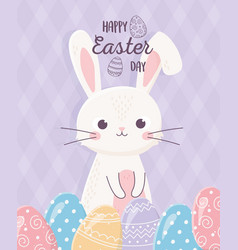 happy easter white rabbit with eggs decoration vector image