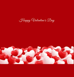 happy valentine day 3d realistic red and white vector image