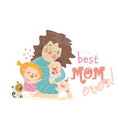 Happy woman sitting with her children mothers day vector