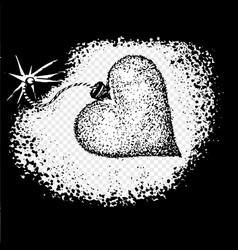 heart love bomb spark fire icon sketch valentine vector image