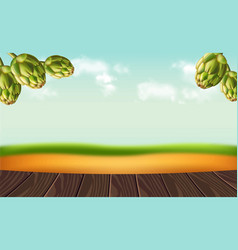Hops on rustic background realistic vector