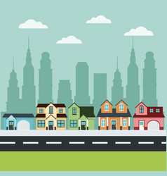 houses private facade city road buildings vector image