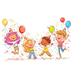 kids jumping and dancing at birthday party vector image