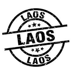 Laos black round grunge stamp vector
