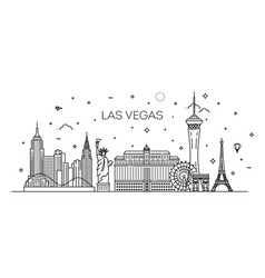 Las vegas skyline with panorama in white vector