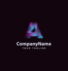 letter a modern wave line logo design template vector image