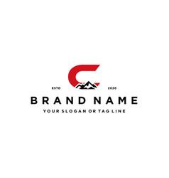 Letter c mountain logo design concept vector