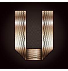 Letter metal gold ribbon - U vector image