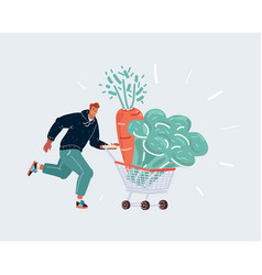 man run with shopping cart with gaint vegeable in vector image