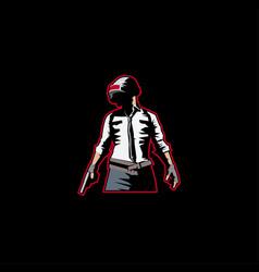 Man with gun logo mascot in black background vector