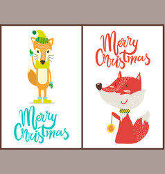 merry christmas fox set on vector image