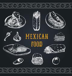 Mexican food menu in burritos nachos vector