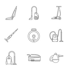 Modern carpet sweeper icon set outline style vector