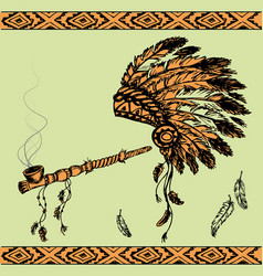 Native american peace pipe and chief headdress vector