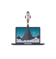 Notebook laptop boost start up space rocket vector