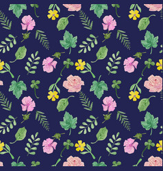 Otanical seamless pattern with floral collection vector