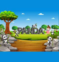 panda are playing on the panda alphabet vector image