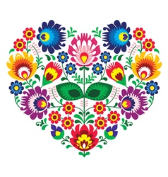 Polish olk art art heart embroidery with flowers vector