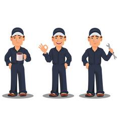 Professional auto mechanic in uniform vector