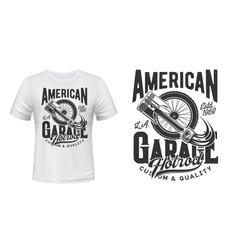 retro car wheel and engine piston t-shirt print vector image