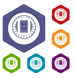 Round stadium top view icons set vector