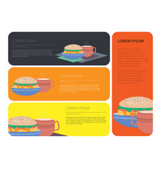 sandwich and a cup of coffee or tea vector image
