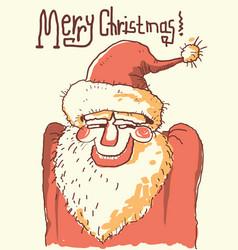 santa portrait color hand drawn christmas vector image