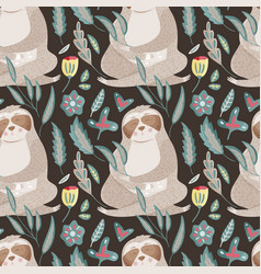 seamless pattern with cartoon sloth vector image