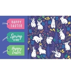 set easter tags and seamless pattern vector image
