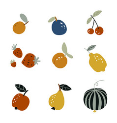 set garden fruits in a flat style on a white vector image