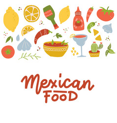 set mexican national tradition food drink and vector image