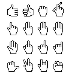 Set of unusual pixelated hand icons vector