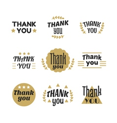 Set of vintage style Thank You labels emblems vector