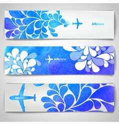Set watercolor airplane artistic banners vector