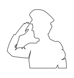 Silhouette military saluting vector