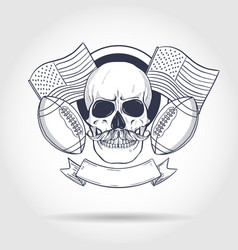 sketch skull american football vector image