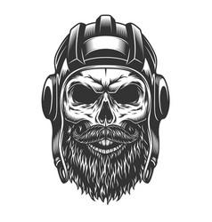 Skull in tank helmet vector