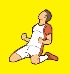 soccer player the winner action vector image