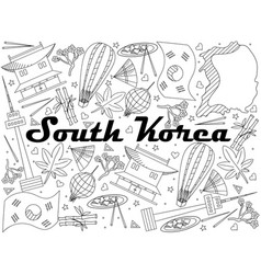 South korea line art design vector