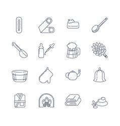 spa sauna linear icons washcloth soap ladle vector image