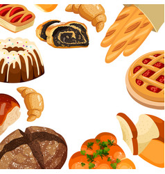Square bakery frame baked bread products vector