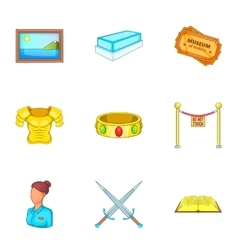 Stay in museum icons set cartoon style vector