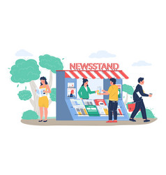 Street newsstand with saleswoman people buying vector