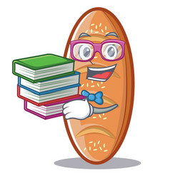 Student with book baked bread character cartoon vector