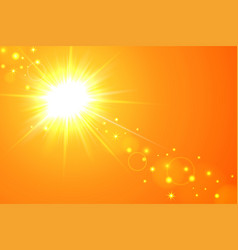Sun and lens flare yellow background vector