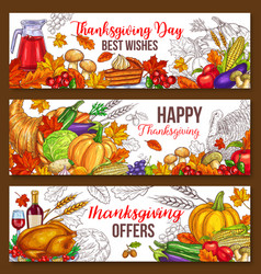 thanksgiving day sketch harvest banners vector image
